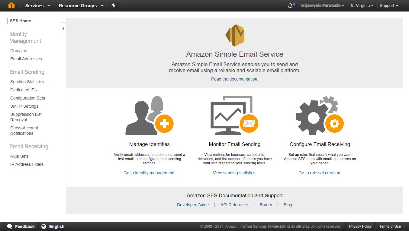 Amazon SES homepage