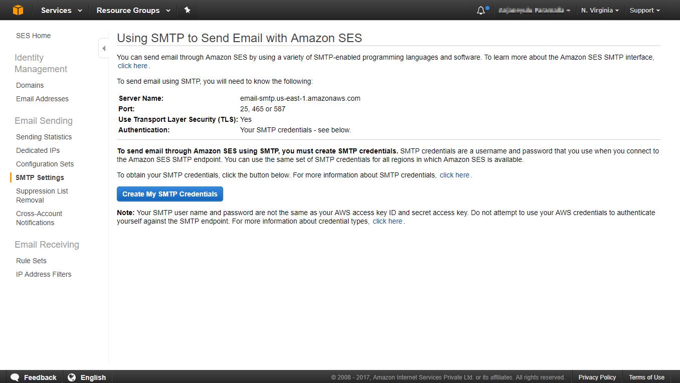Amazon SES SMTP setup page