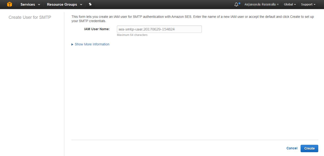 Amazon SES SMTP server credentials creation success